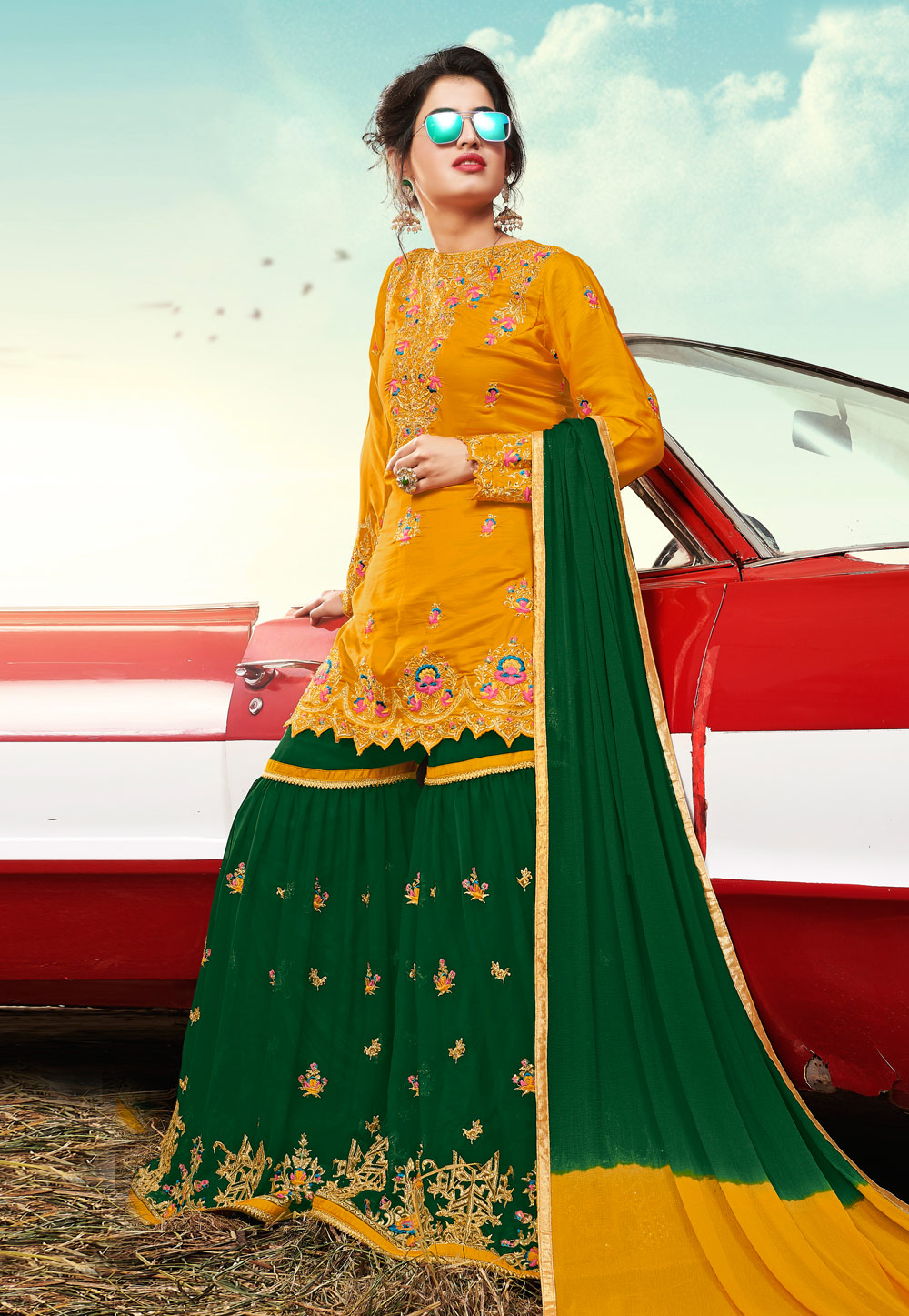 Yellow Satin Sharara Suit 199296