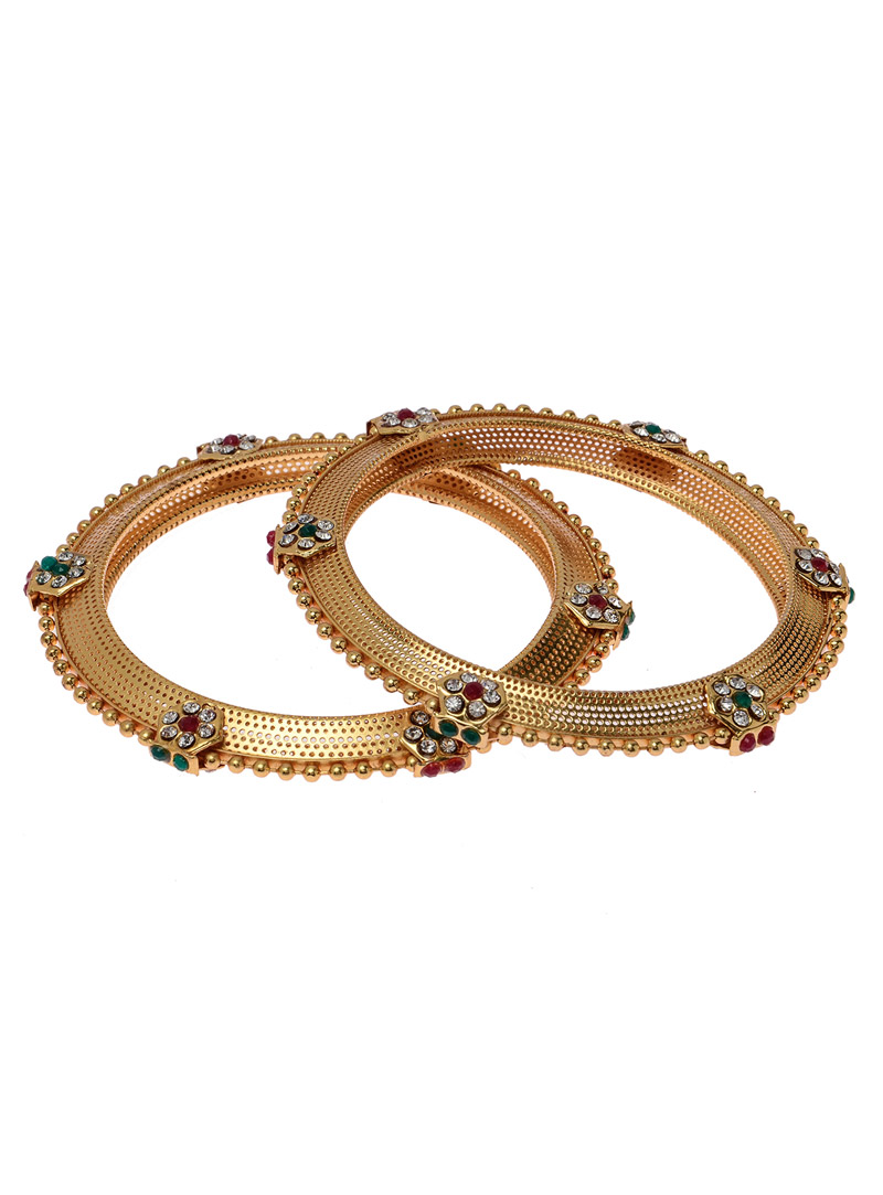 Golden Brass Kundan Bangle 118870
