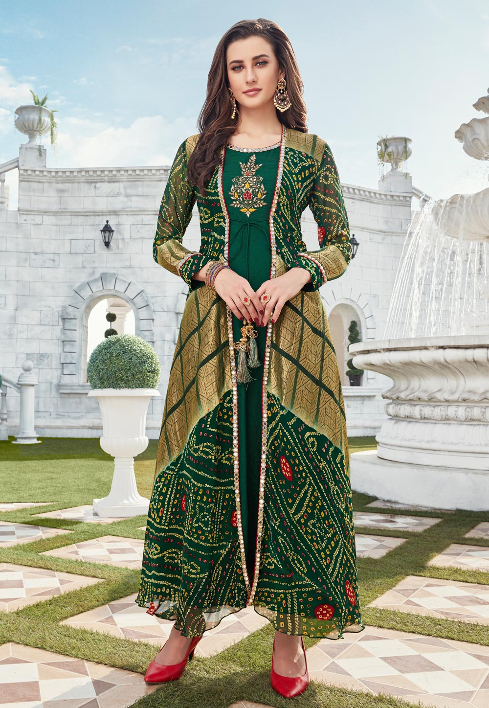 Green Silk Readymade Gown With Jacket 199890