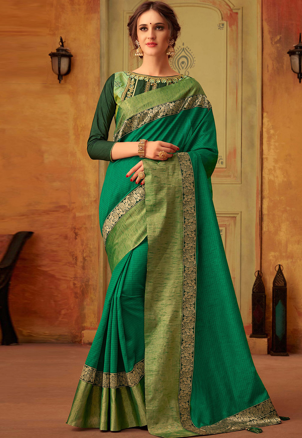 Green Cotton Saree With Blouse 183125