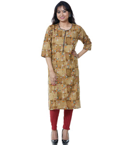 Brown Rayon Readymade Printed Tunic 209175