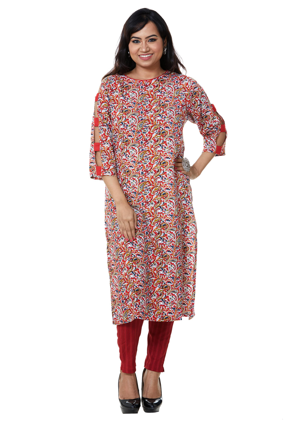 Red Rayon Readymade Printed Tunic 209177