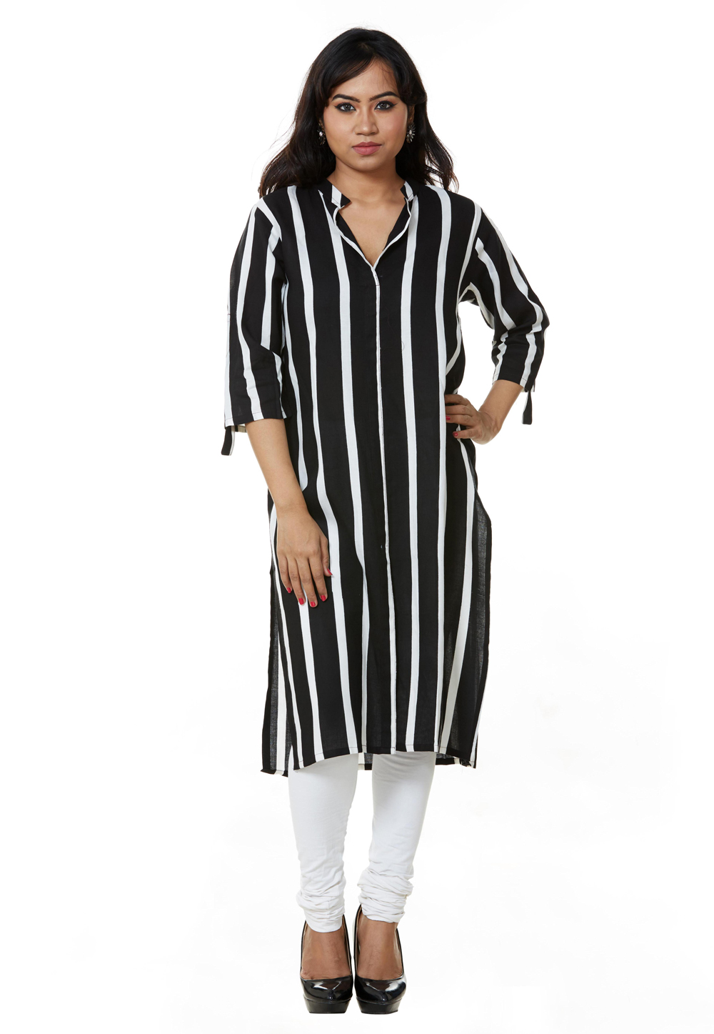 Black Rayon Readymade Tunic 209181