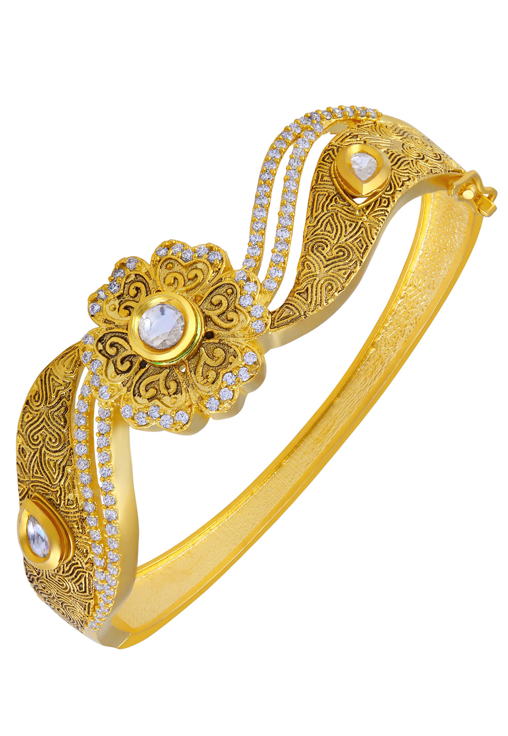 White Brass Diamond Kada 191442