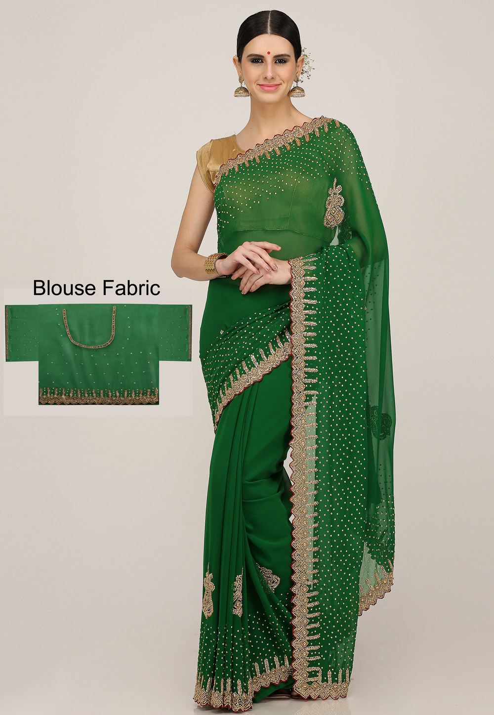 Green Georgette Hand Work Saree With Blouse 198168