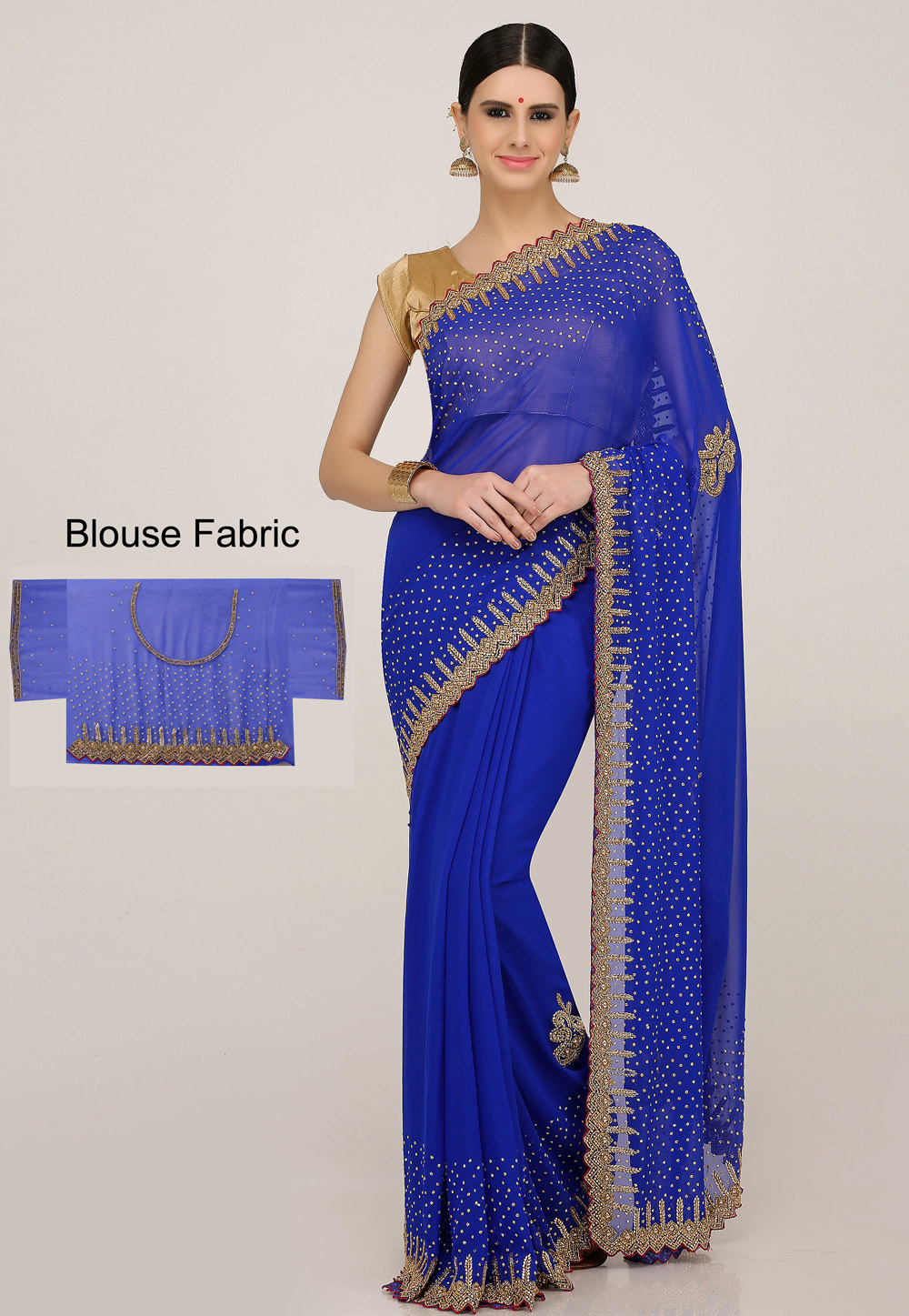 Blue Georgette Hand Work Saree With Blouse 198158