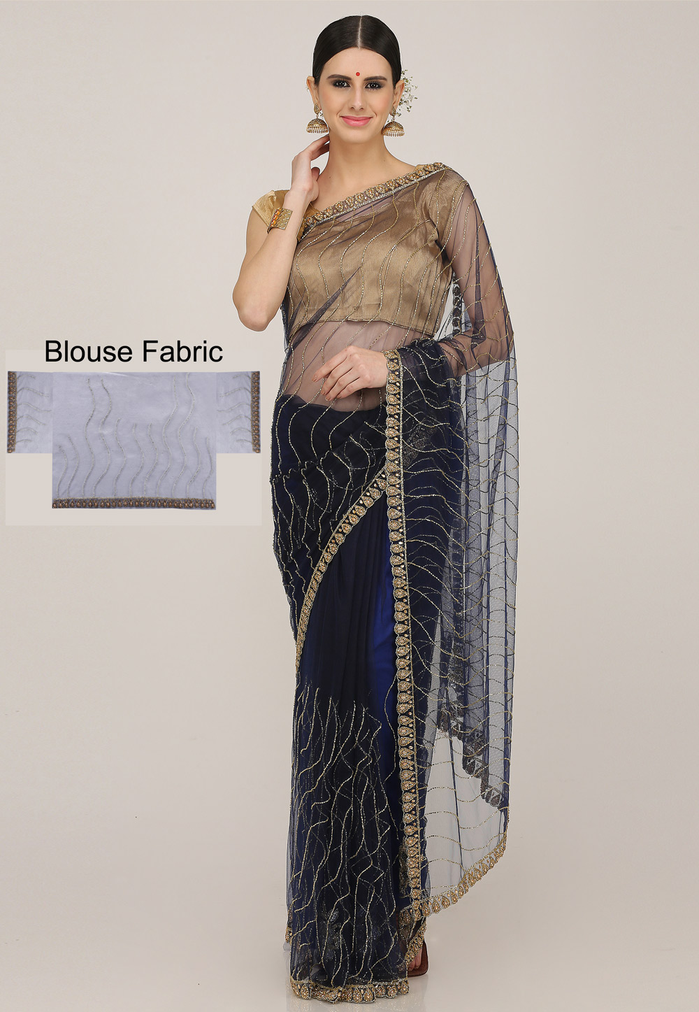 Navy Blue Net Hand Work Saree With Blouse 198170