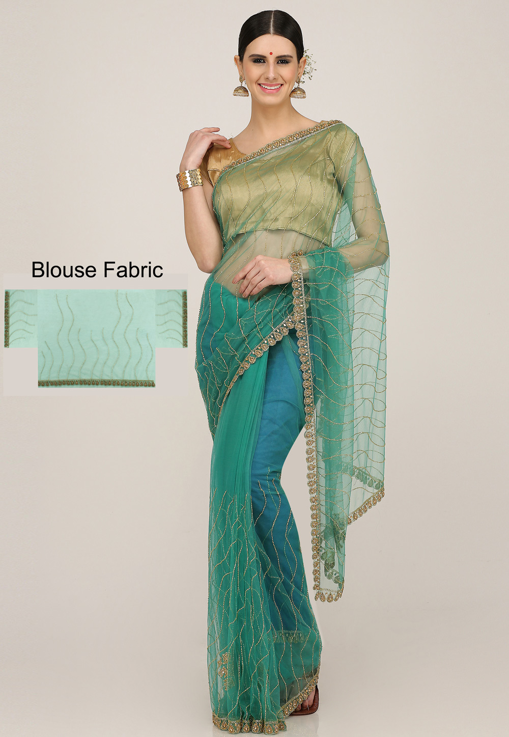 Sea Green Net Hand Work Festival Wear Saree 198171