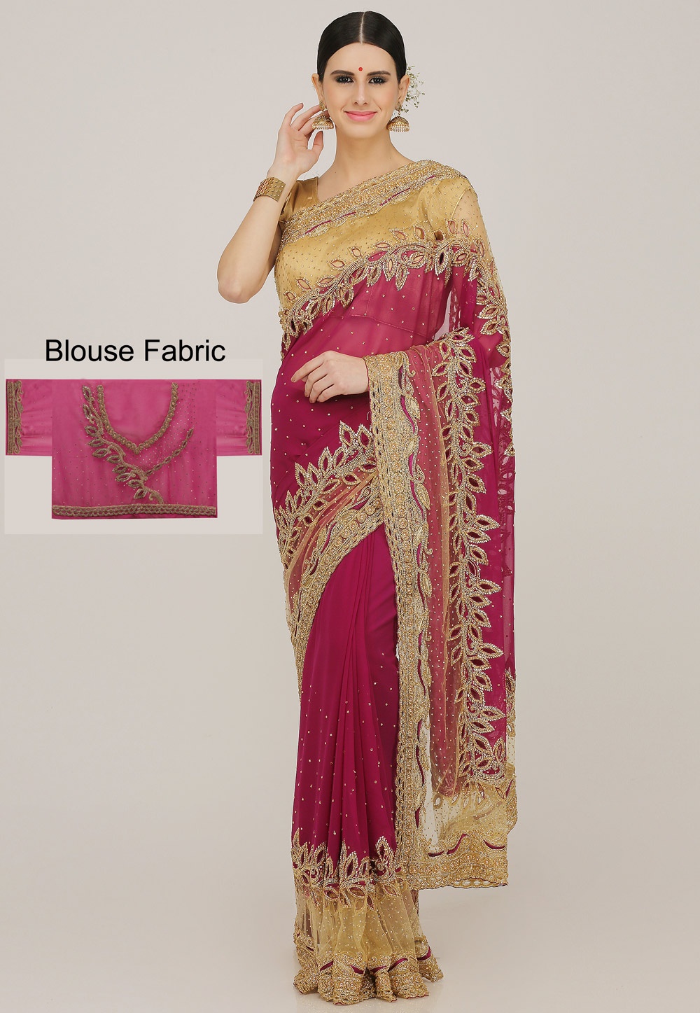 Pink Georgette Hand Work Saree With Blouse 198172