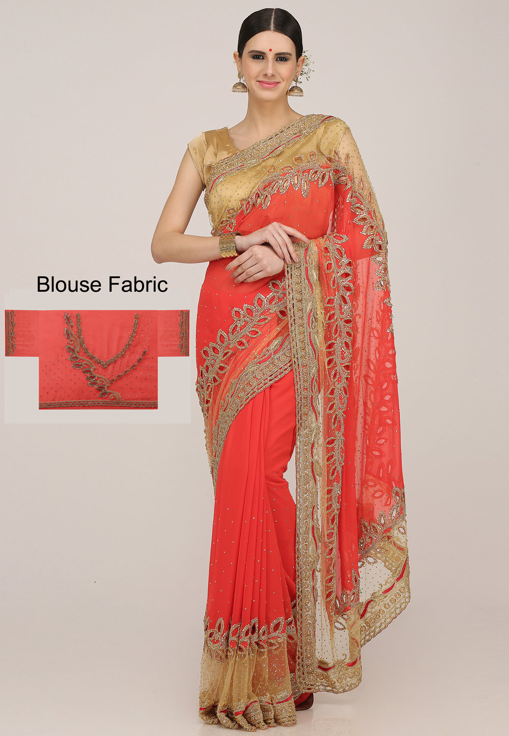 Red Georgette Hand Work Saree With Blouse 198174