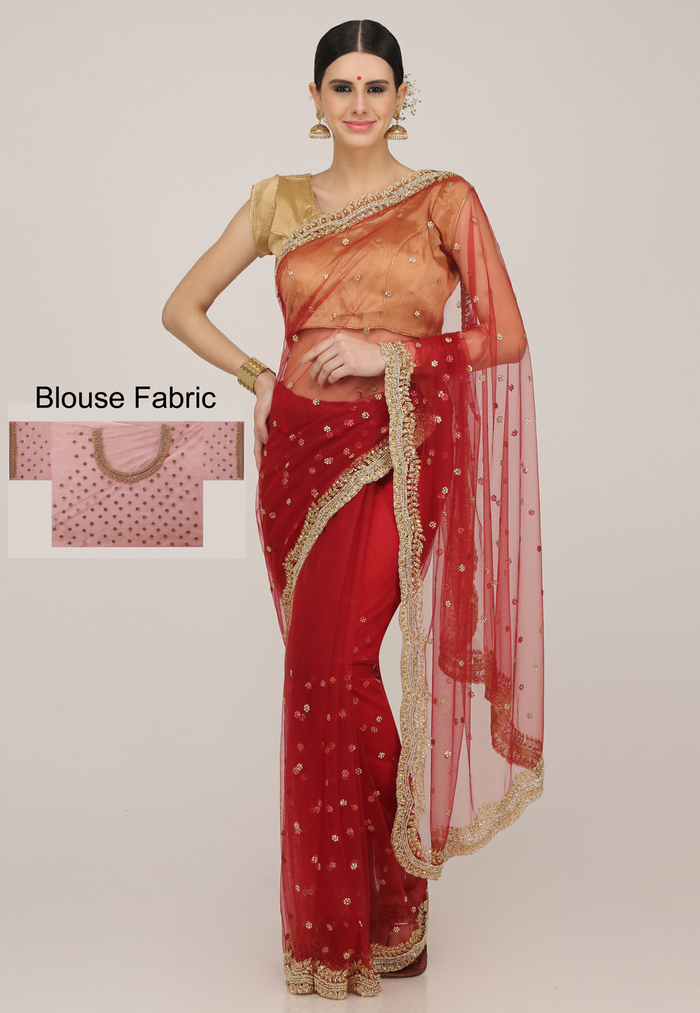 Maroon Net Hand Work Festival Wear Saree 198175