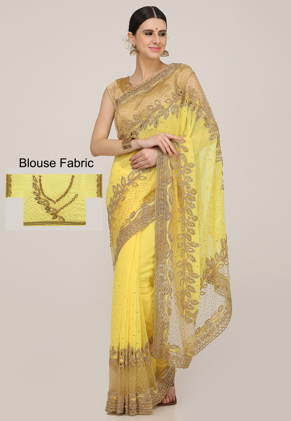 Yellow Georgette Hand Work Saree With Blouse 198176