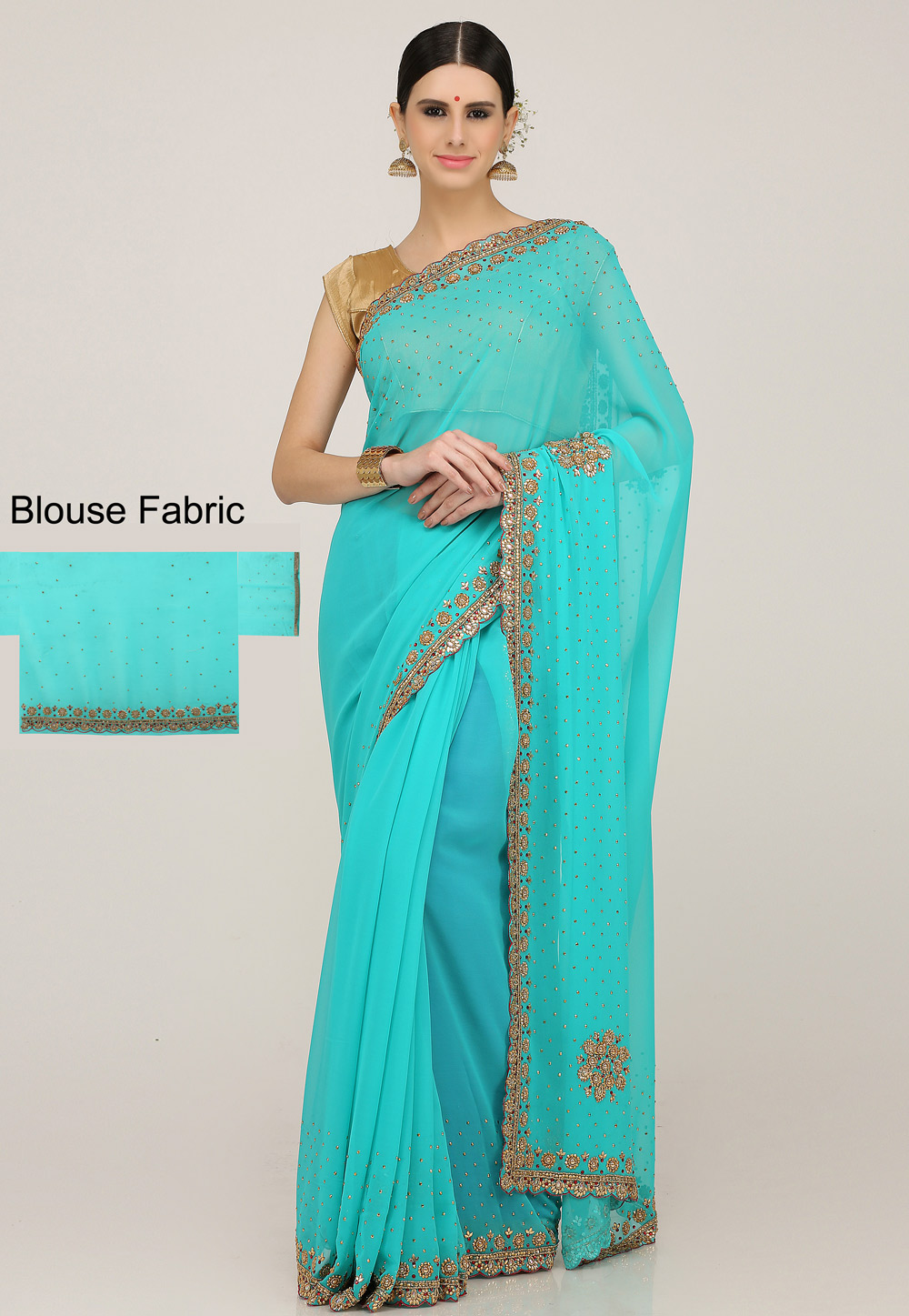 Aqua Georgette Hand Work Saree With Blouse 198160