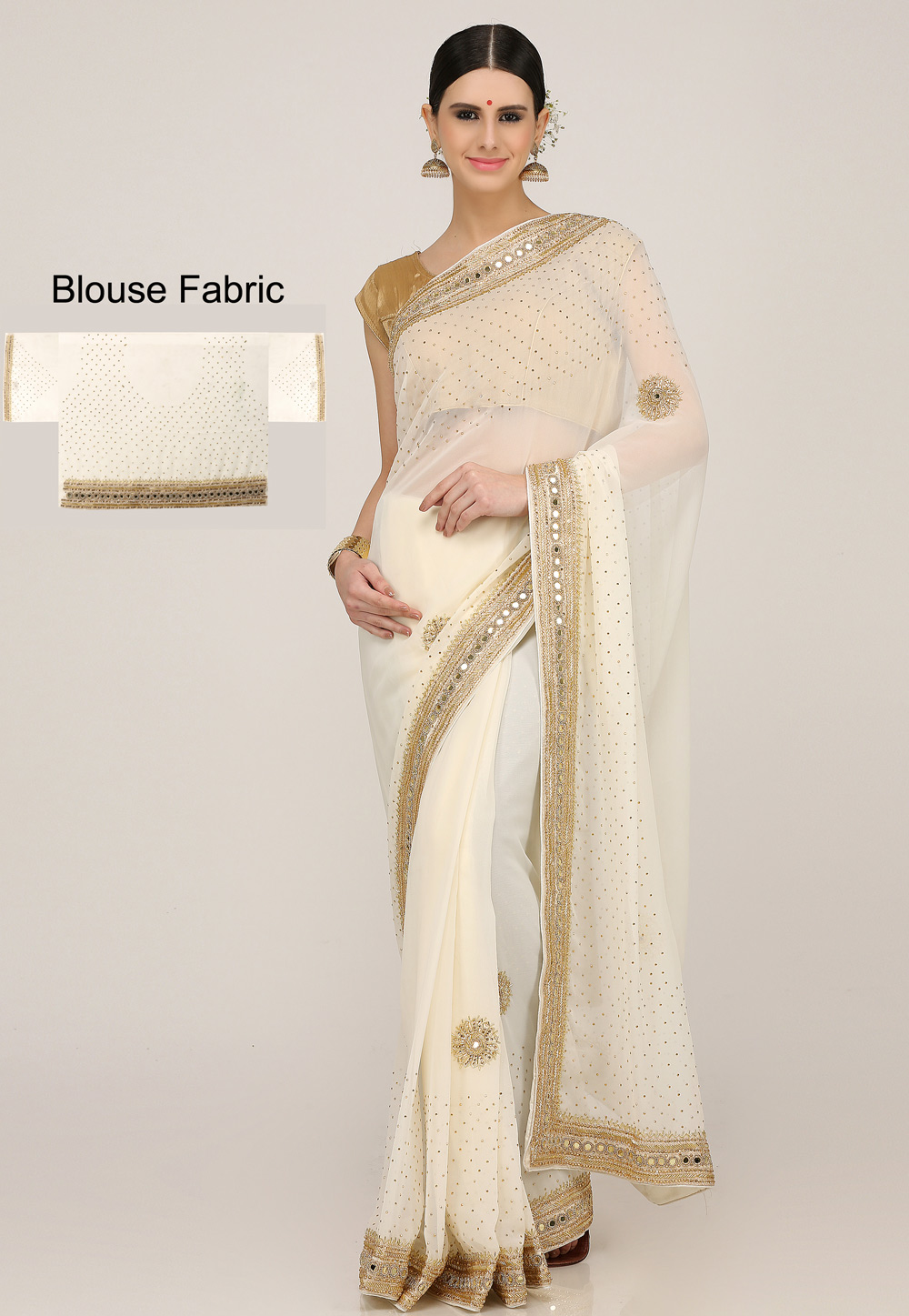 Cream Georgette Hand Work Festival Wear Saree 198161
