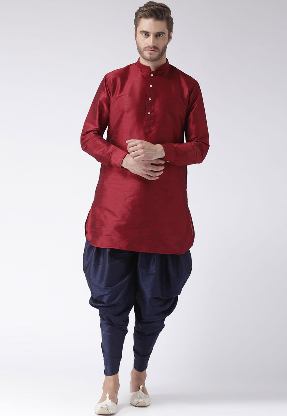 Maroon Dupion Readymade Indo Western Suit 160523