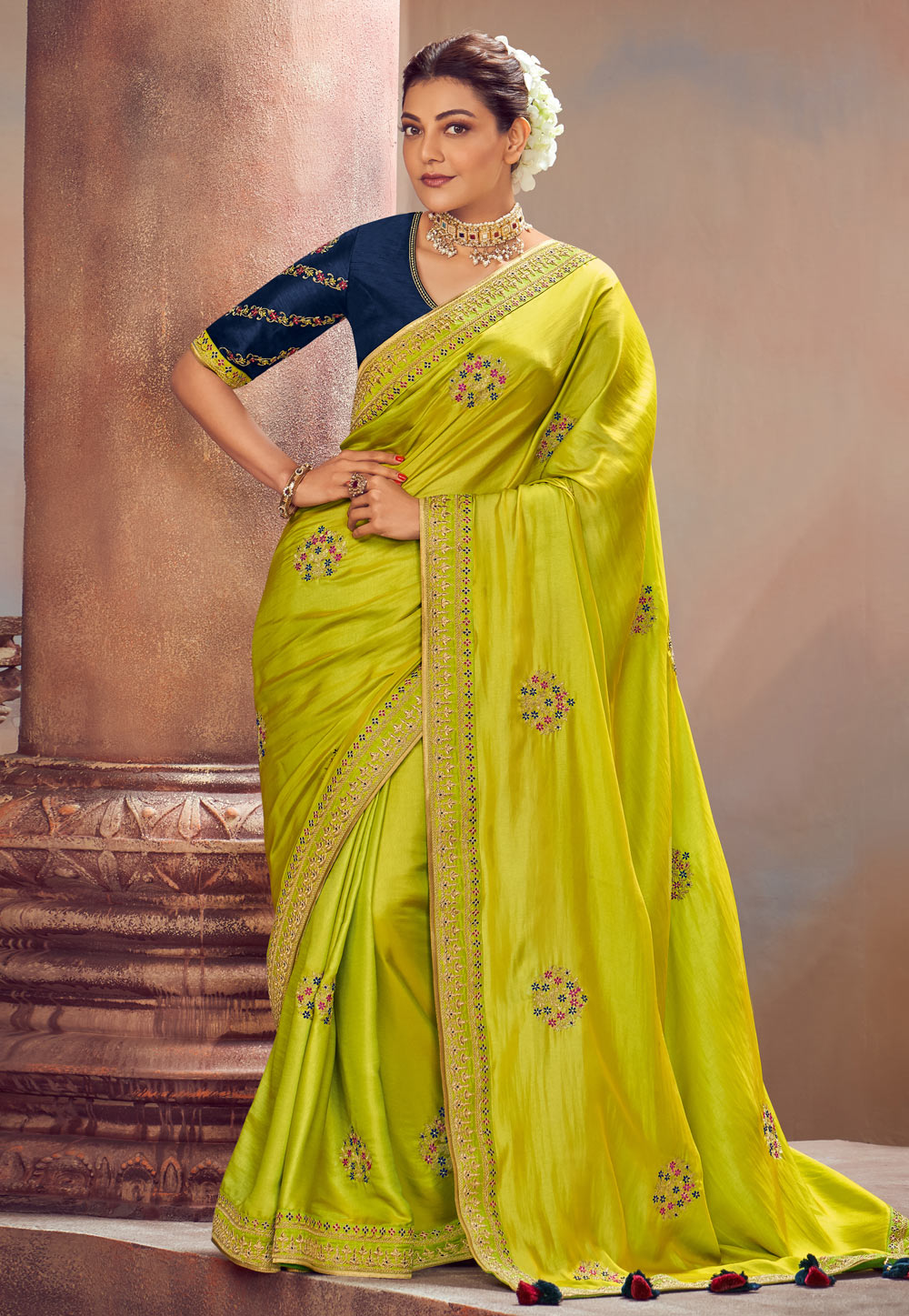 Kajal Aggarwal Green Silk Festival Wear Saree 199474