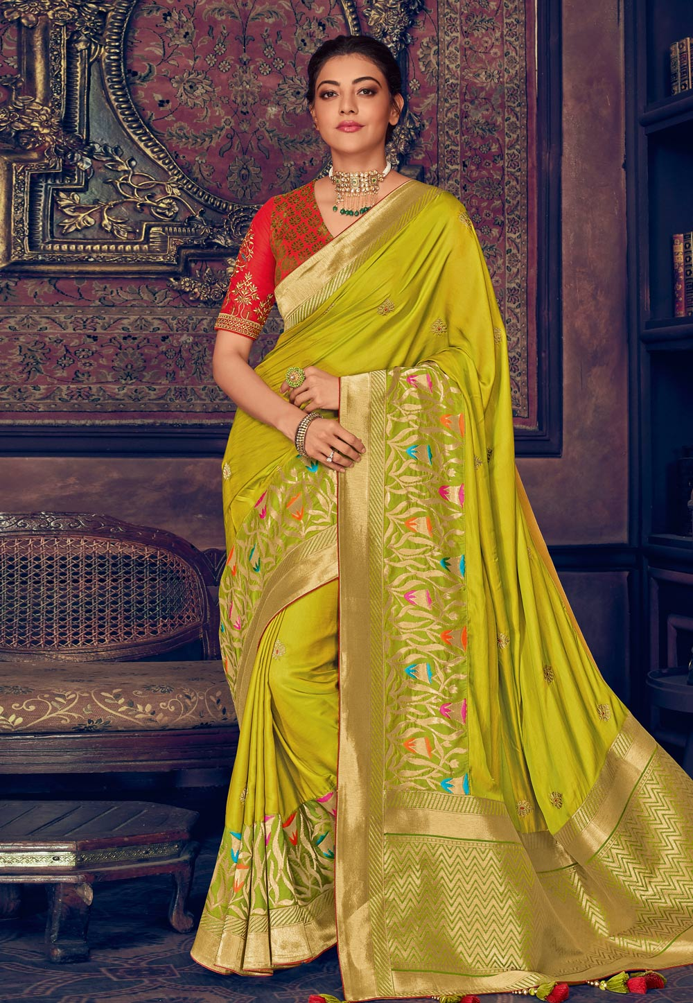 Kajal Aggarwal Green Silk Festival Wear Saree 199439
