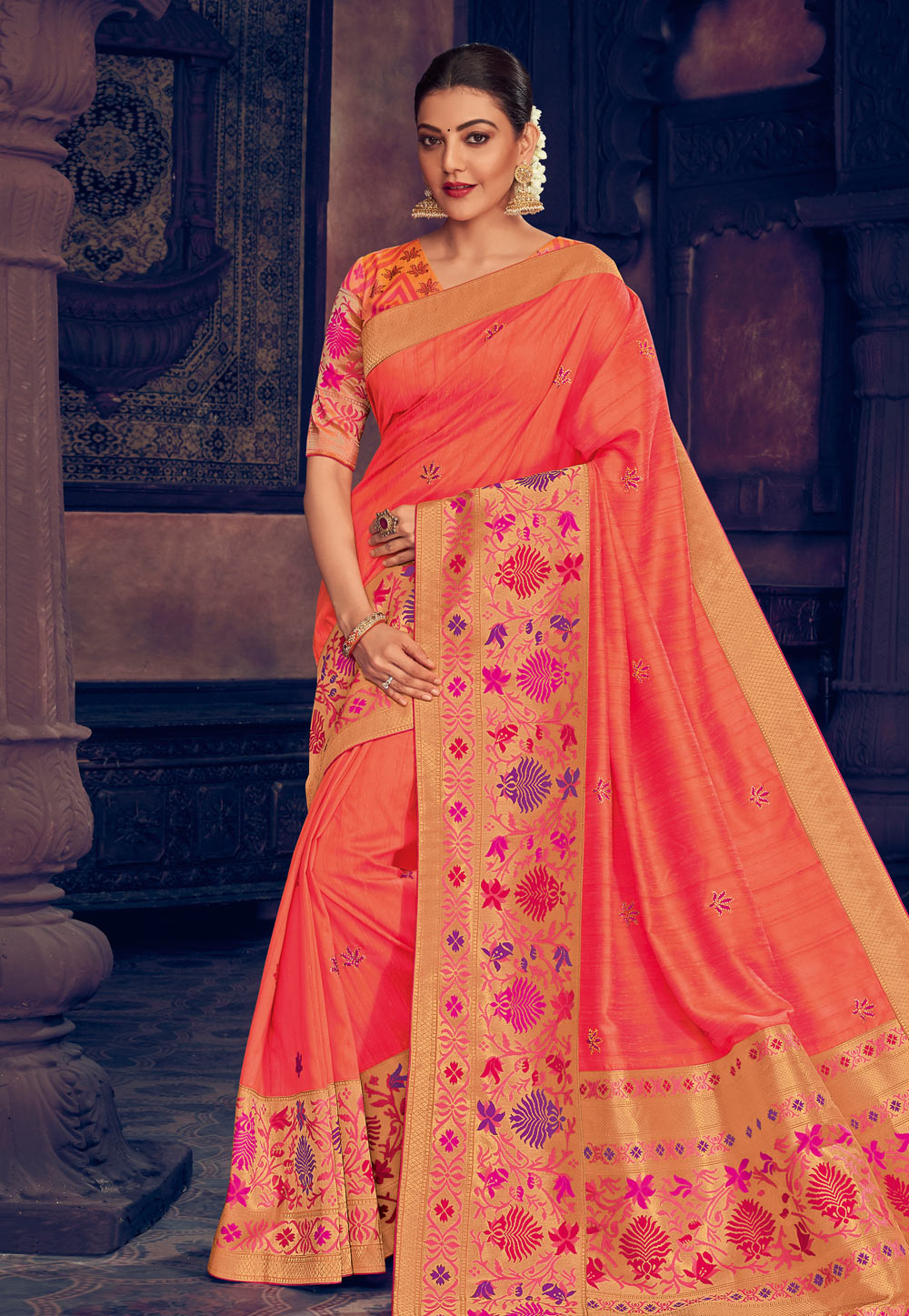Kajal Aggarwal Orange Silk Saree With Blouse 199446