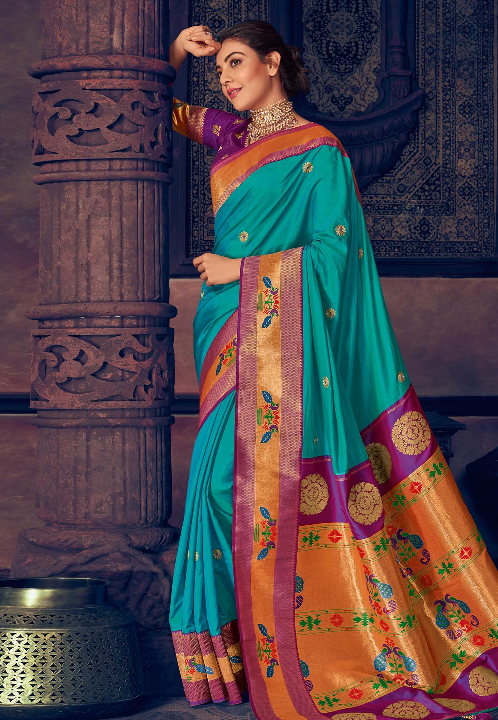 Kajal Aggarwal Blue Silk Festival Wear Saree 199447