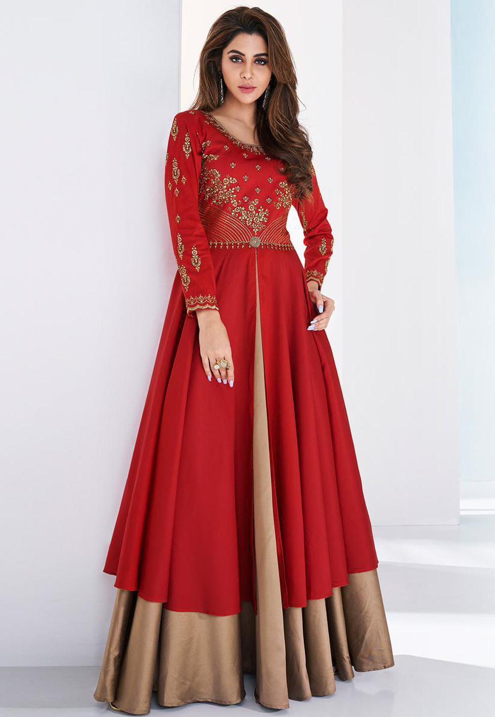 Red Silk Readymade Party Wear Gown 205562