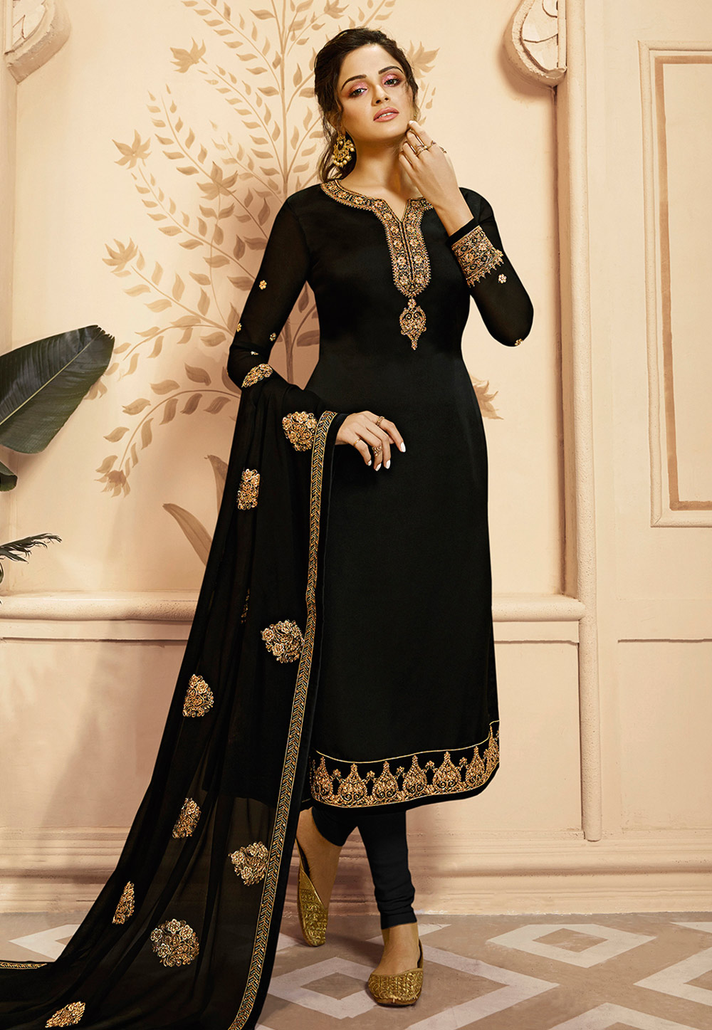 Black Georgette Churidar Suit 189654