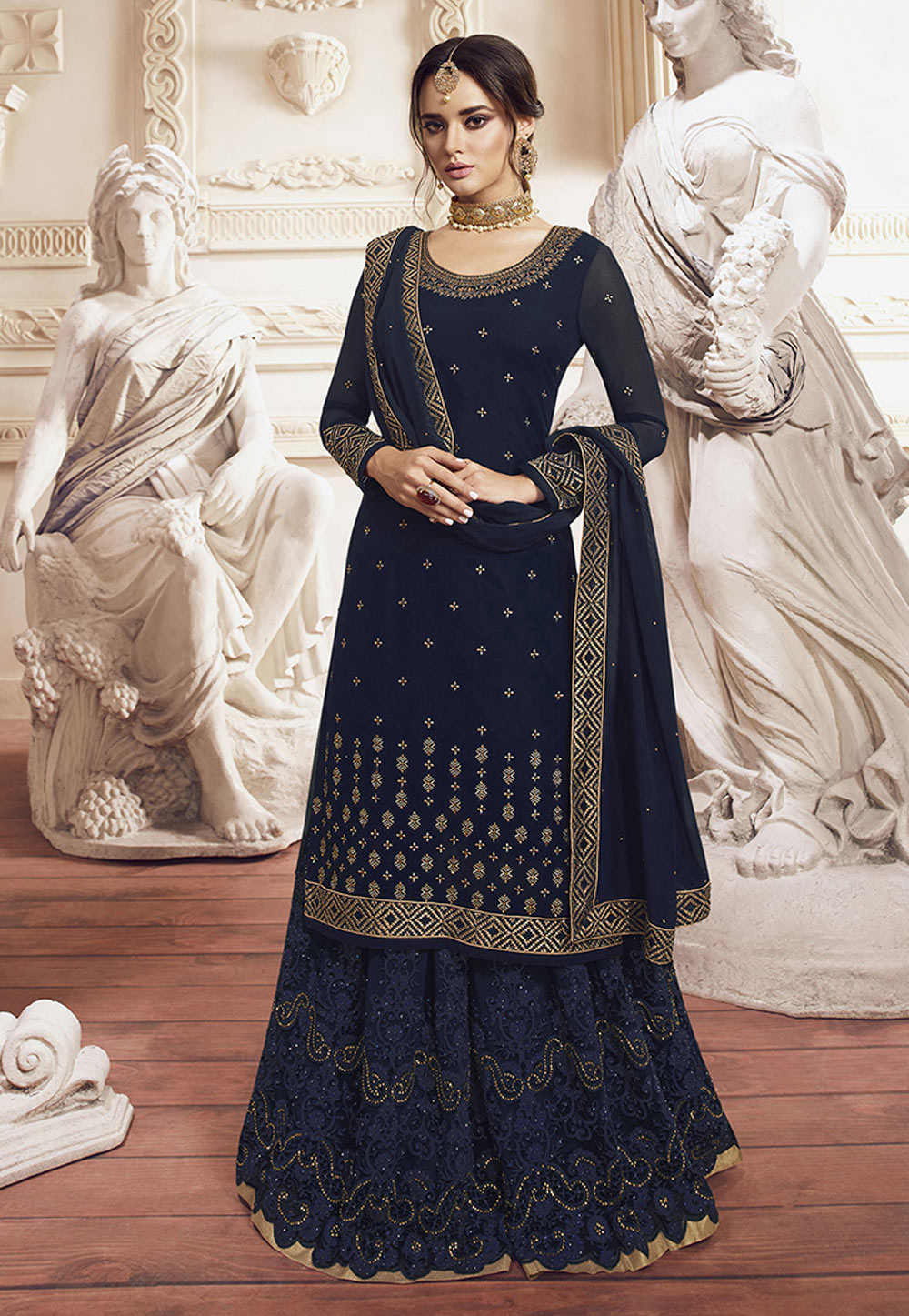 Navy Blue Georgette Embroidered Kameez With Palazzo 198455