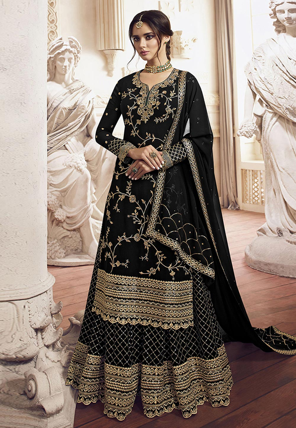 Black Georgette Embroidered Kameez With Palazzo 198457