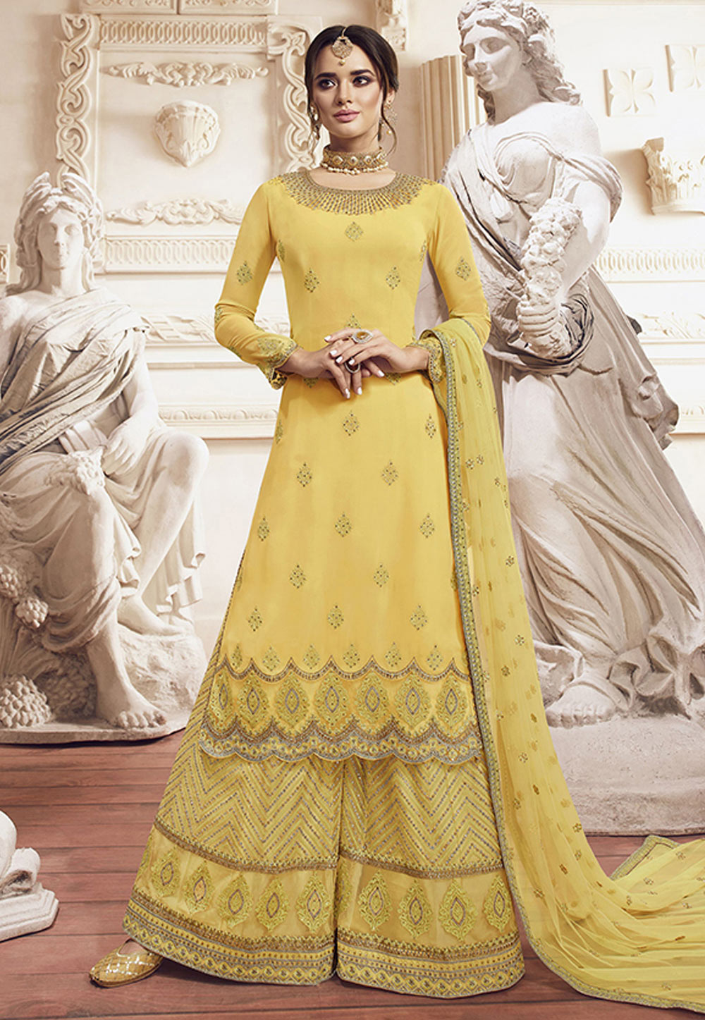 Yellow Georgette Embroidered Palazzo Suit 198458
