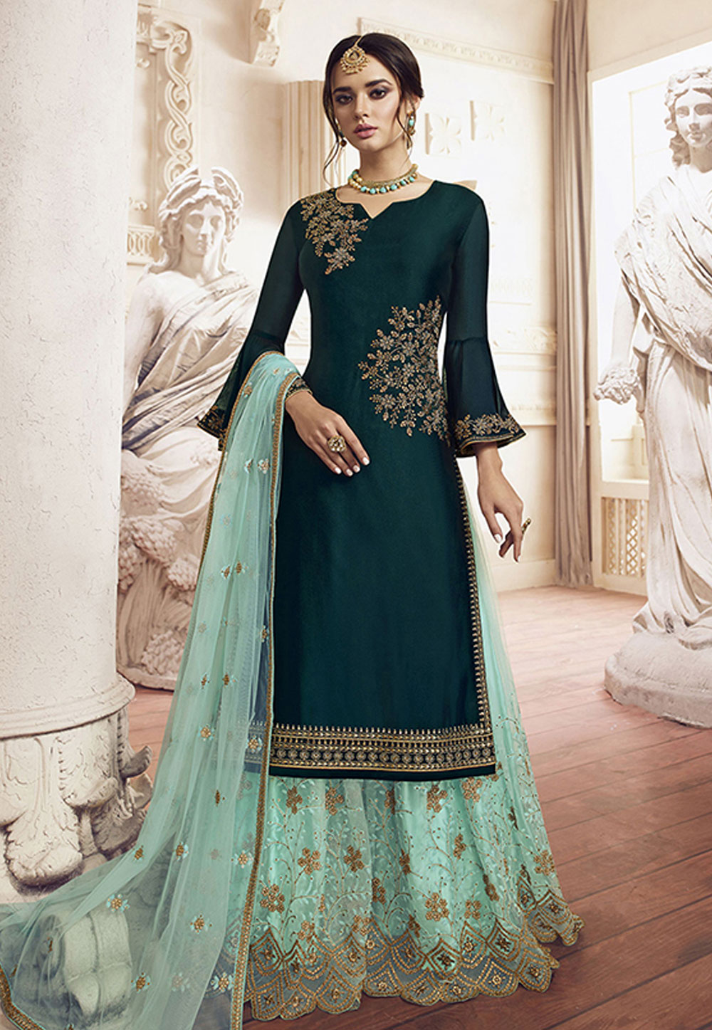 Teal Green Silk Embroidered Kameez With Palazzo 198459