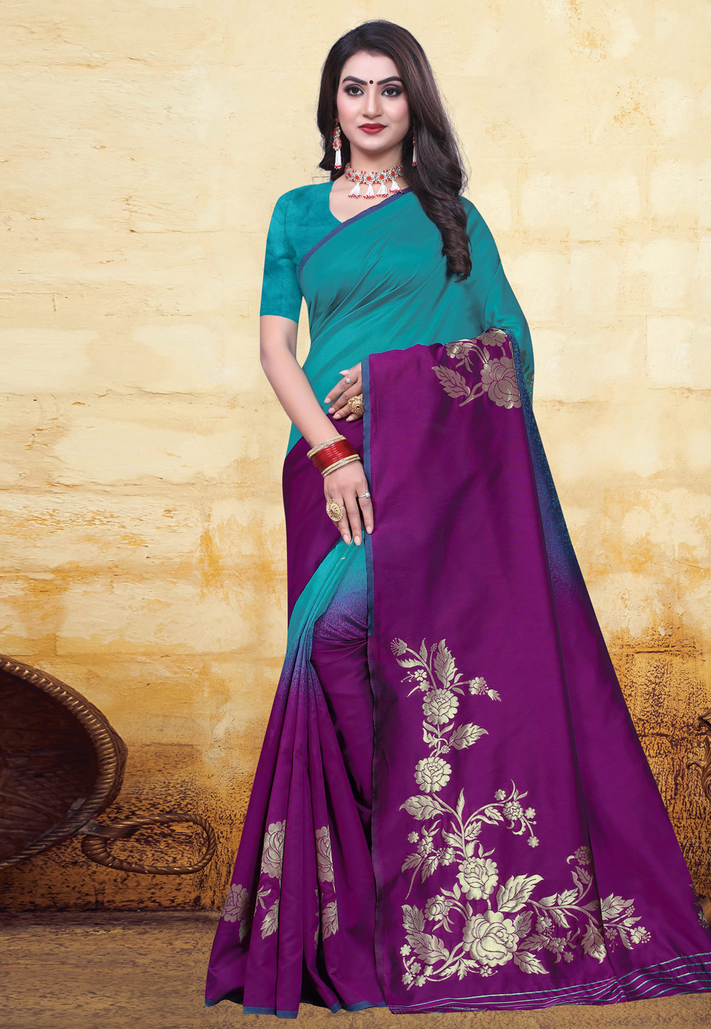 Purple Banarasi Silk Saree With Blouse 200678