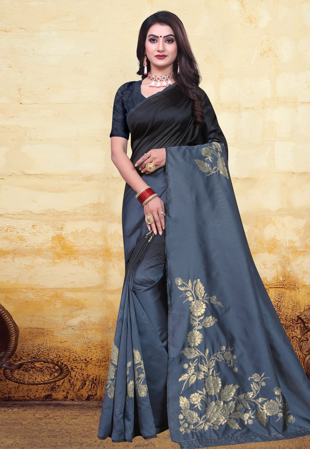 Grey Banarasi Silk Saree With Blouse 200680