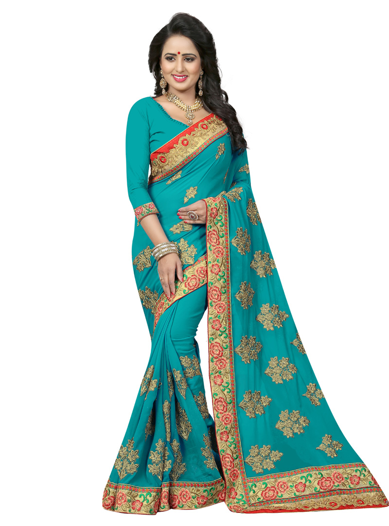 Blue Georgette Saree With Blouse 136663
