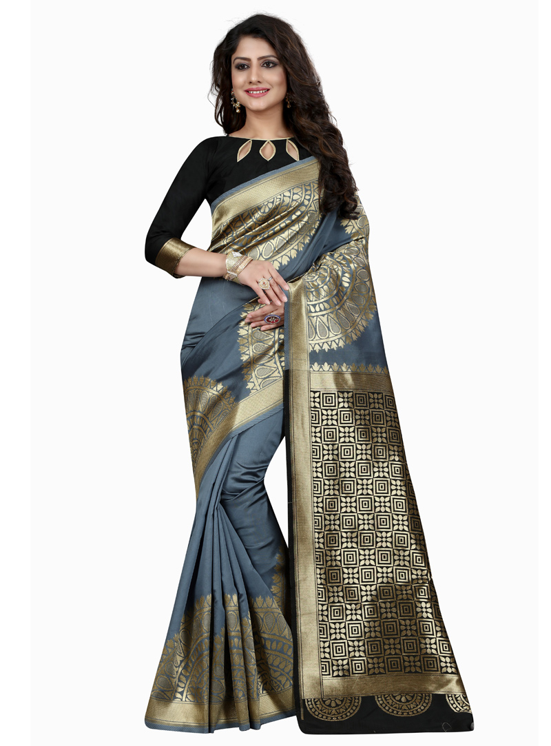 Grey Banarasi Silk Saree With Blouse 137191