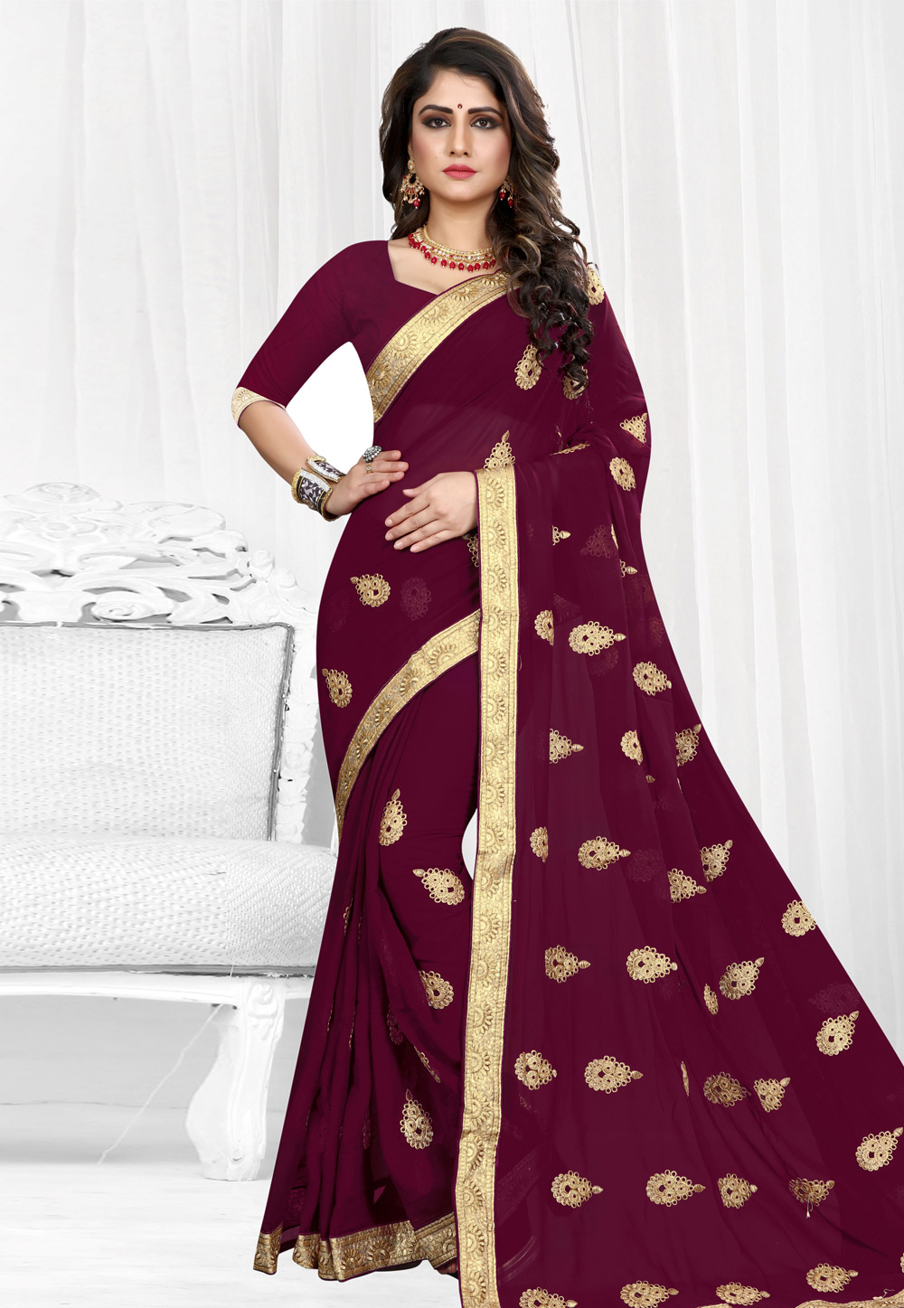 Wine Georgette Saree With Blouse 154206