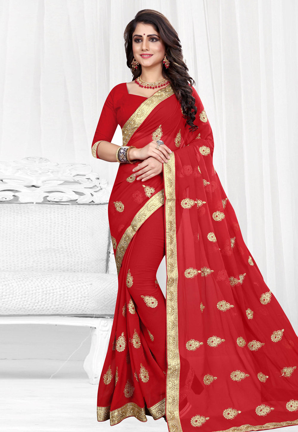 Red Georgette Saree With Blouse 154207