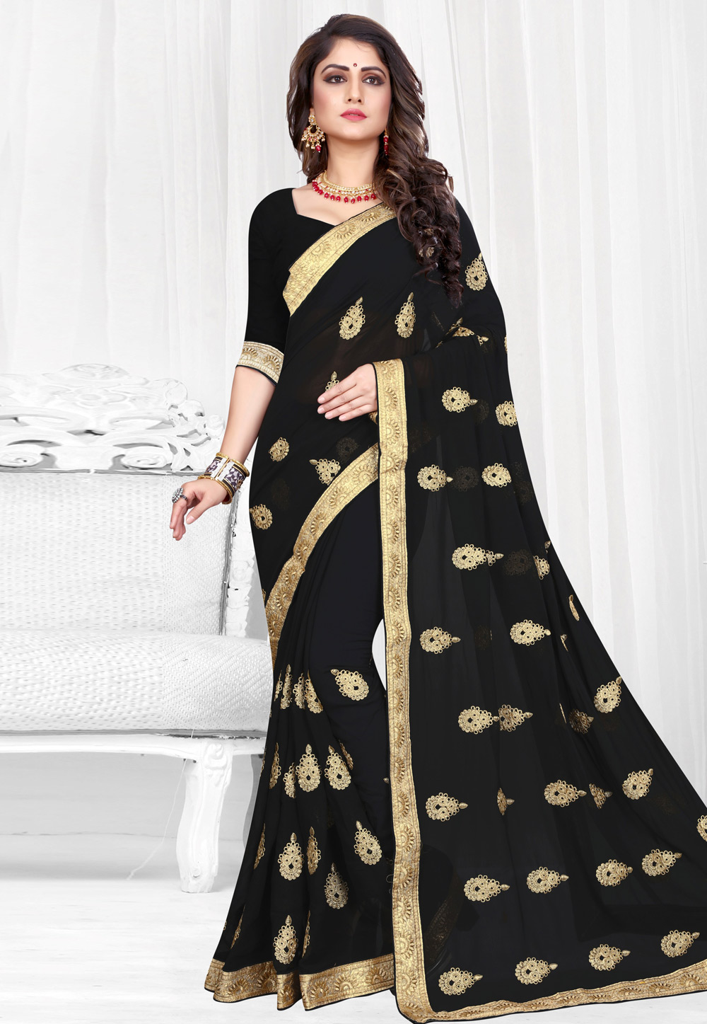 Black Georgette Saree With Blouse 154208