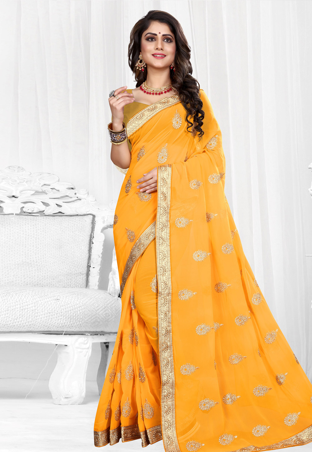 Yellow Georgette Saree With Blouse 154209