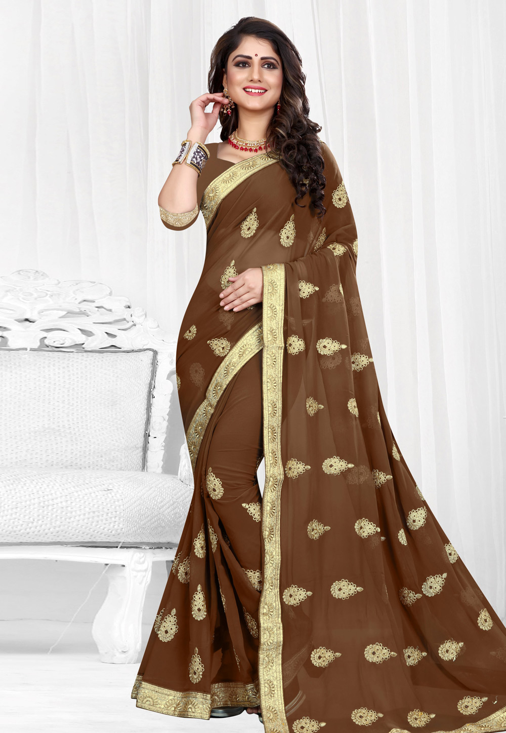 Brown Georgette Saree With Blouse 154211