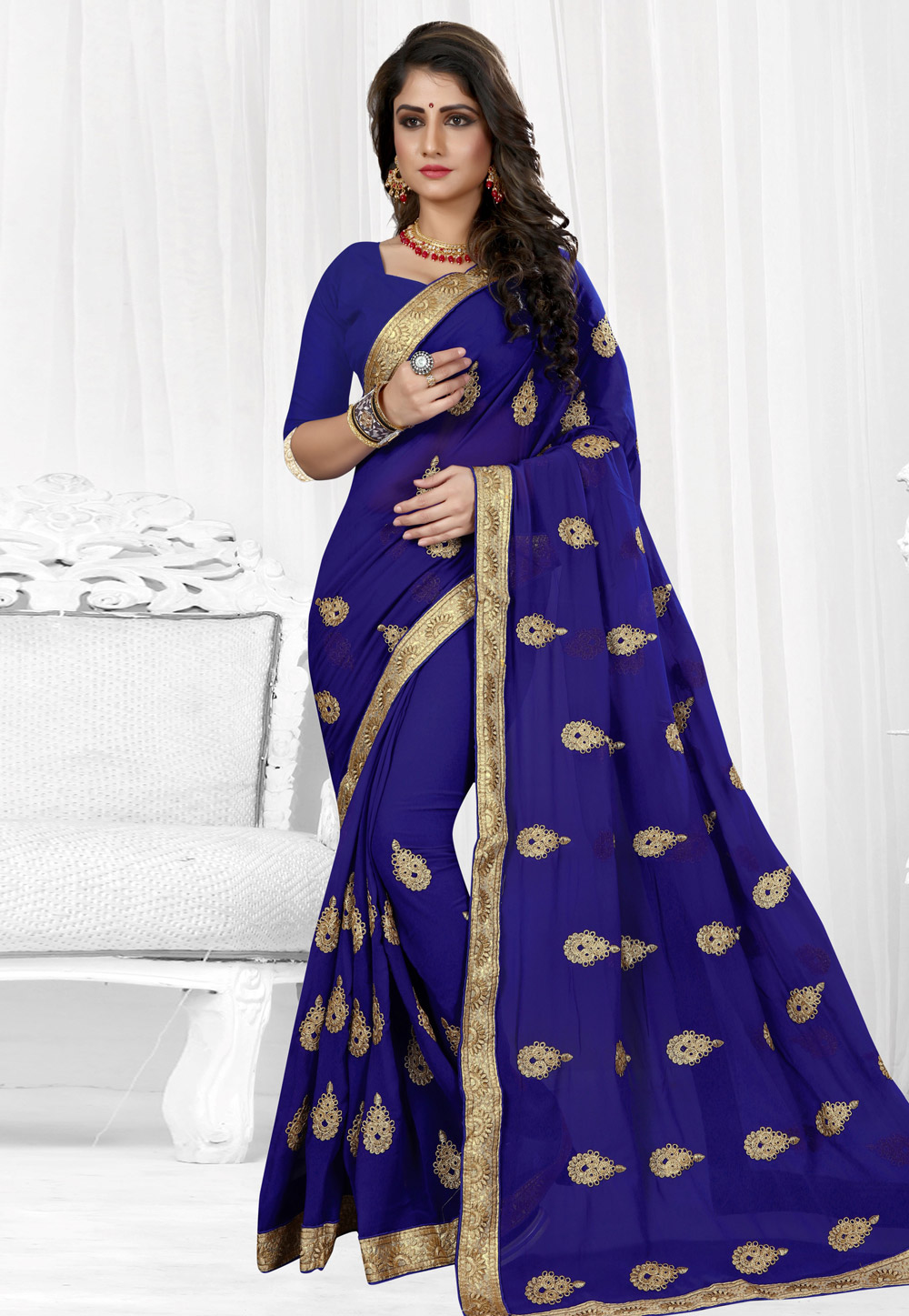 Blue Georgette Saree With Blouse 154212