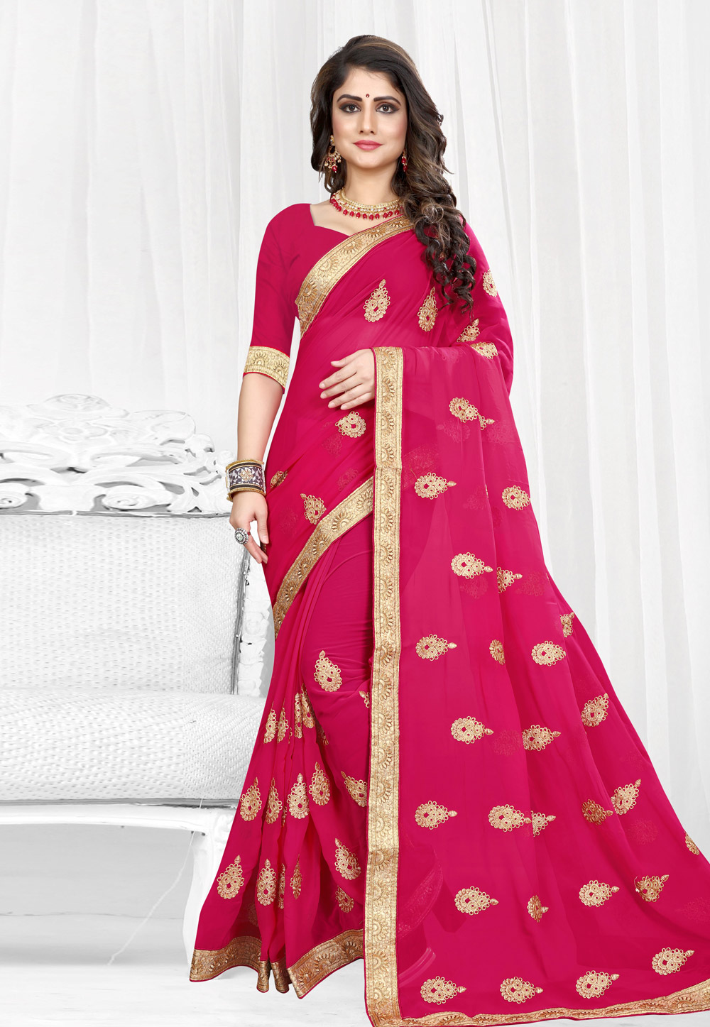 Magenta Georgette Saree With Blouse 154213