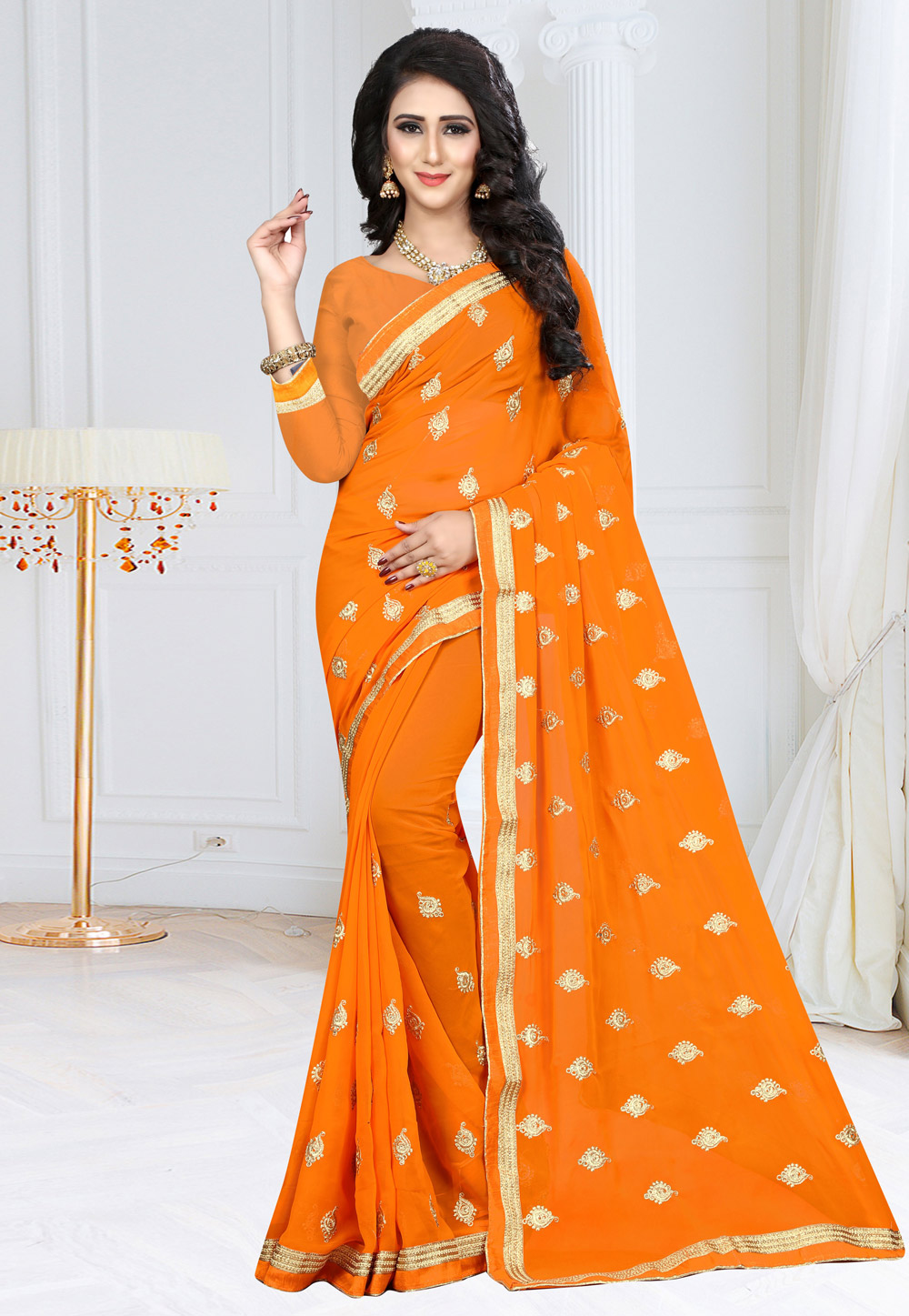 Orange Georgette Festival Wear Saree 155173