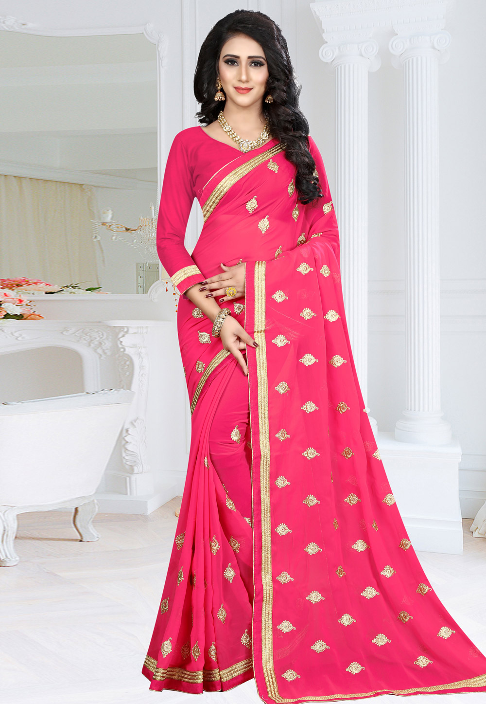 Pink Georgette Saree With Blouse 155174
