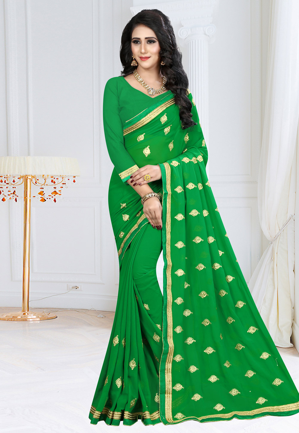 Green Georgette Saree With Blouse 155176