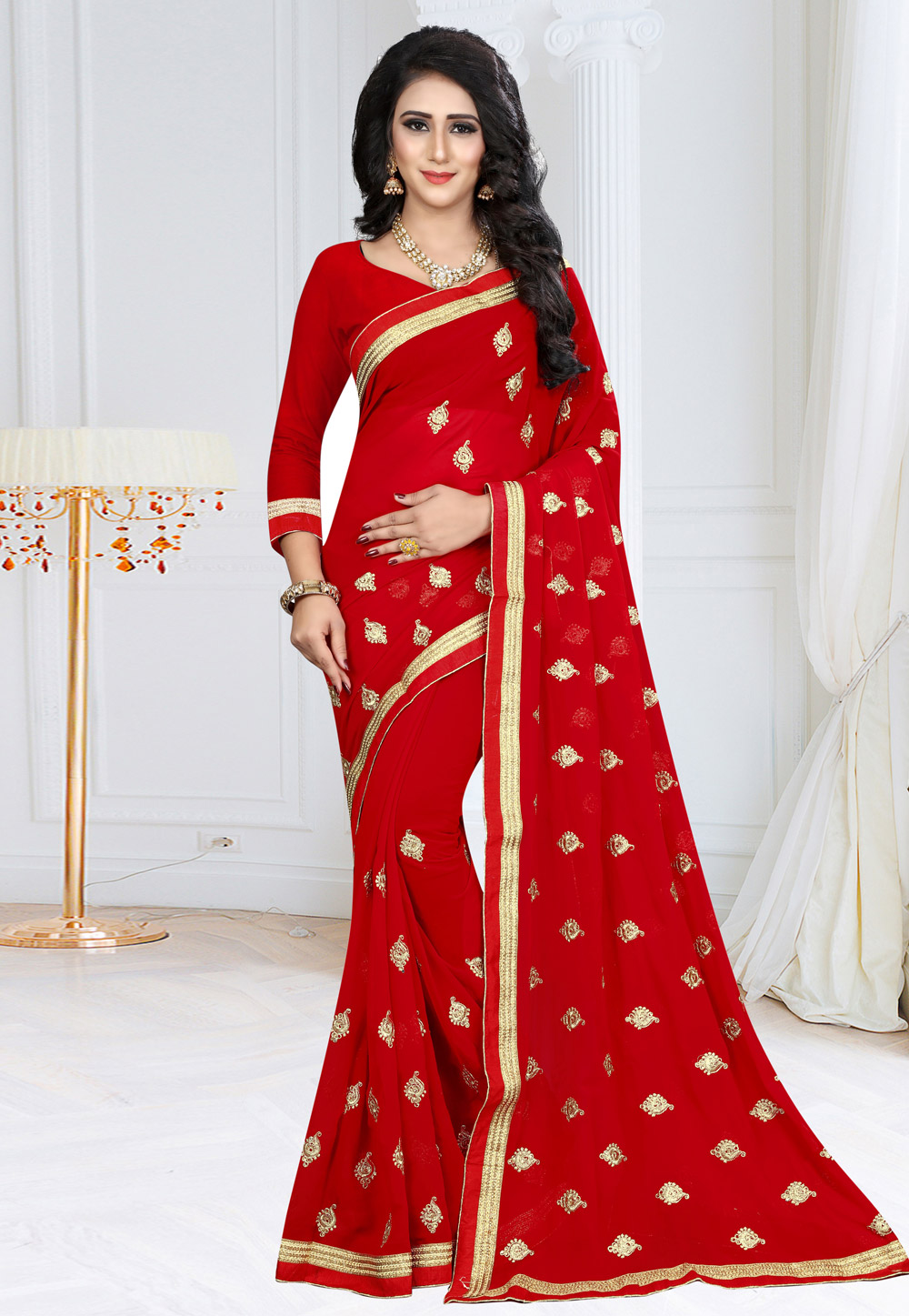 Red Georgette Saree With Blouse 155178