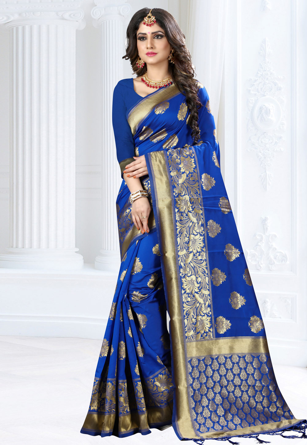 Blue Banarasi Silk Festival Wear Saree 155353
