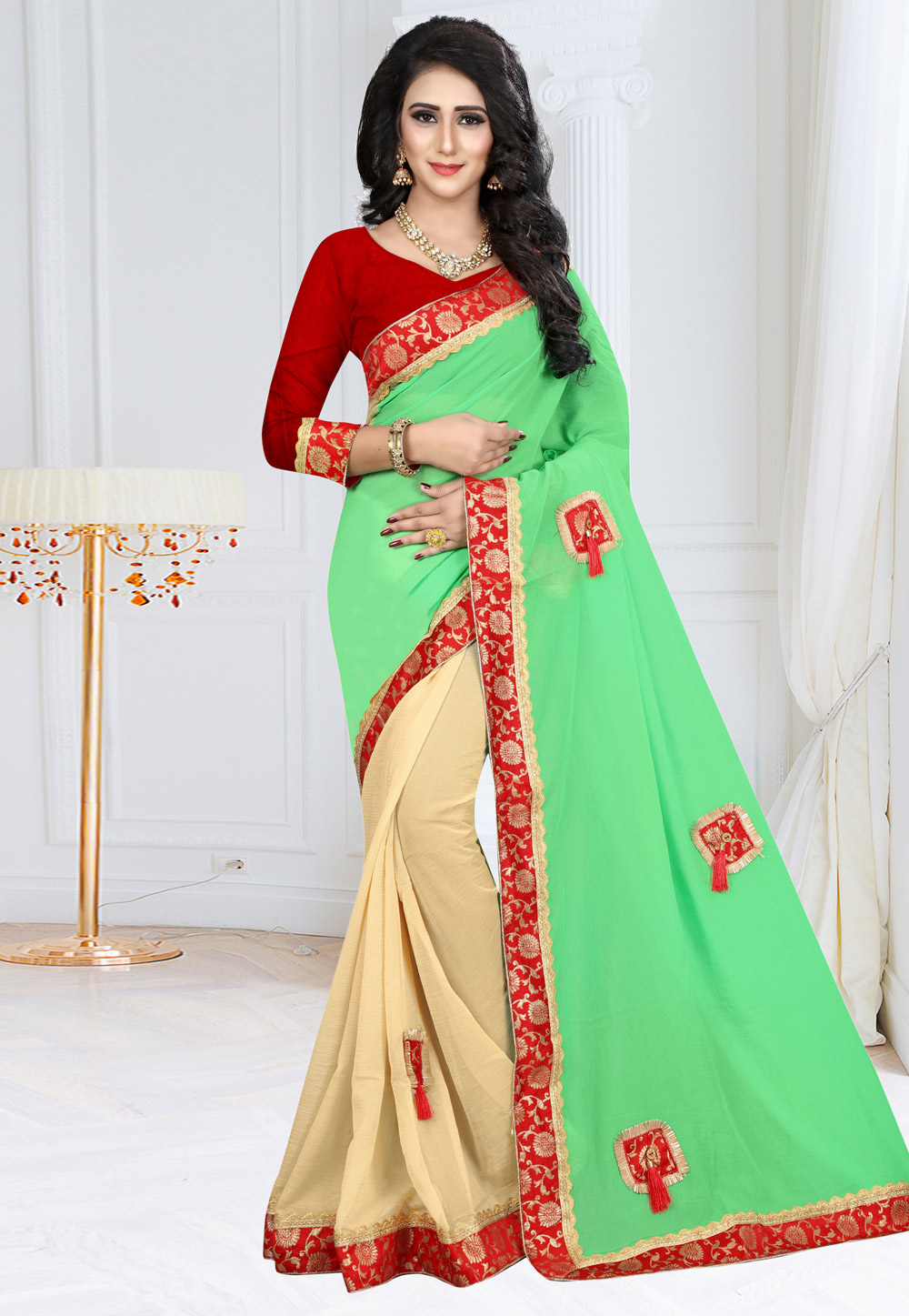 Light Green Georgette Saree With Blouse 160113