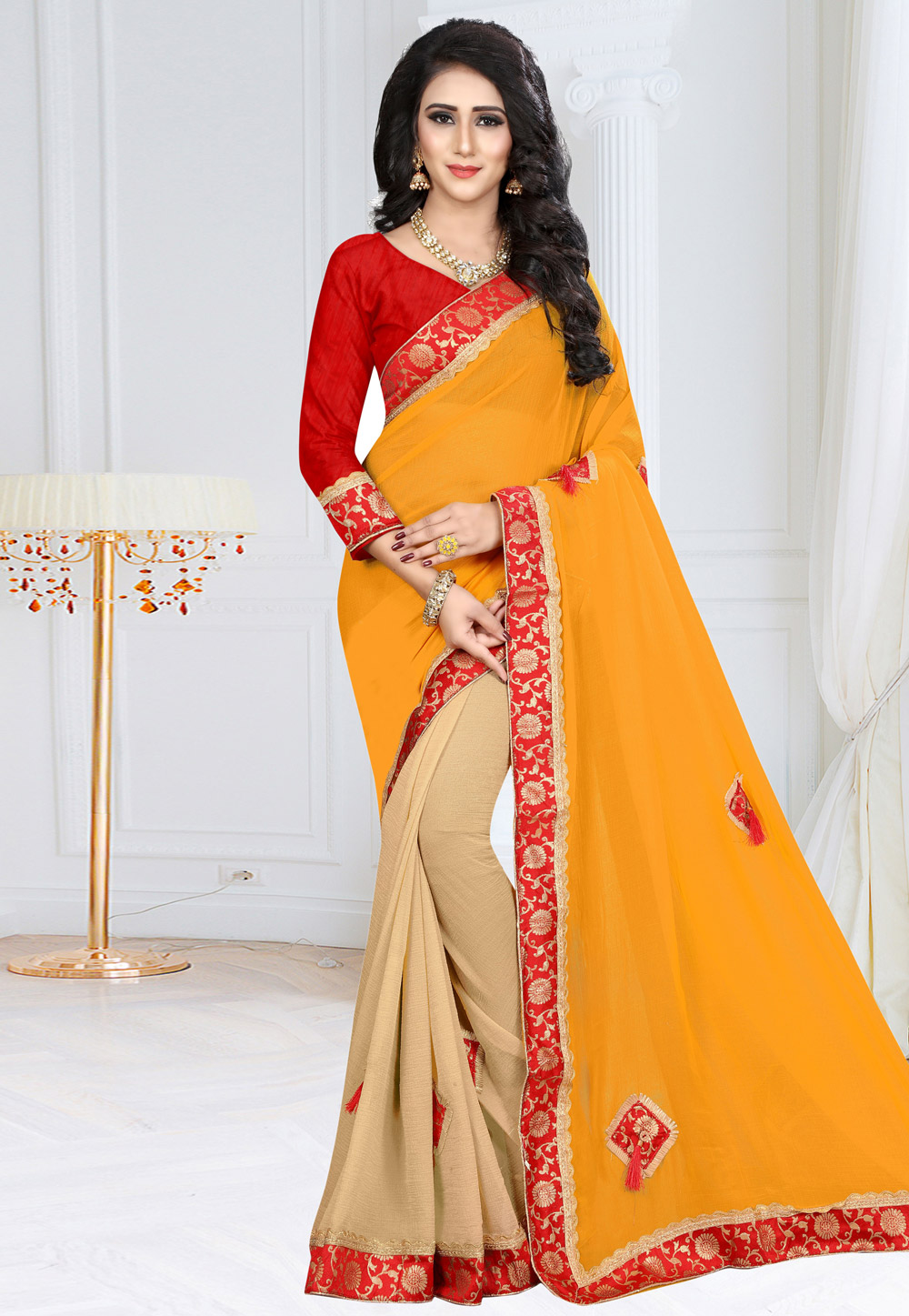 Yellow Georgette Saree With Blouse 160117