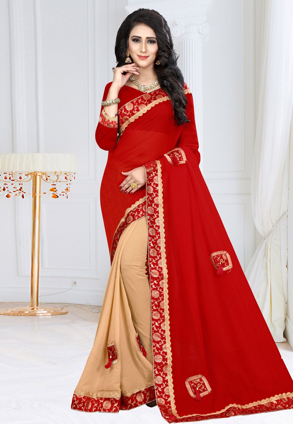 Red Georgette Half and Half Saree 160118
