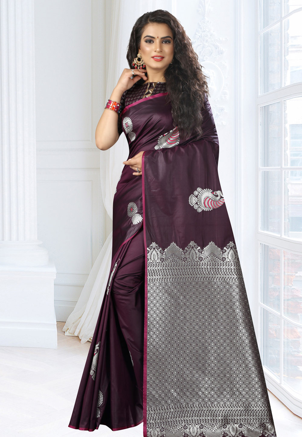 Purple Silk Saree With Blouse 161663