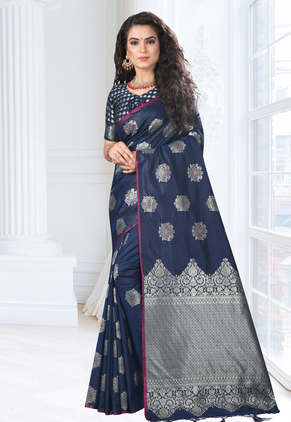Navy Blue Silk Festival Wear Saree 161664